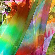 Аксессуары ручной работы. Ярмарка Мастеров - ручная работа Шелковый палантин  Радужное лето Шелковый шарф. Handmade.