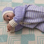 Работы для детей, ручной работы. Ярмарка Мастеров - ручная работа Шерстяной комплект для новорожденных Жаккардик. Handmade.