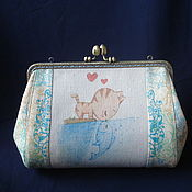 Сумки и аксессуары handmade. Livemaster - original item Wallet-cosmetic bag with clasp Kitty loves fish. Handmade.