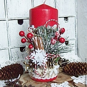 Сувениры и подарки ручной работы. Ярмарка Мастеров - ручная работа Новогодняя свеча большая. Handmade.