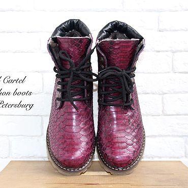 Обувь ручной работы. Ярмарка Мастеров - ручная работа Зимние ботинки из кожи питона. Handmade.