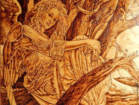 """Фэнтези ручной работы. Ярмарка Мастеров - ручная работа. Купить Картина  """"Ангел в лесу"""". Handmade. Коричневый, фентази, сказочные существа"""
