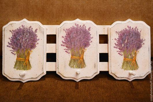 Прихожая ручной работы. Ярмарка Мастеров - ручная работа. Купить Ключница, вешалка для кухонных полотенец «Лавандовый декор». Handmade. Бежевый