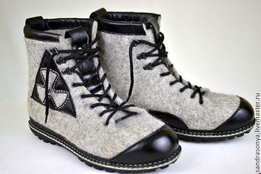 """Обувь ручной работы. Ярмарка Мастеров - ручная работа. Купить Ботинки валяные мужские """"Gran Turismo"""". Handmade. Ботинки валяные"""