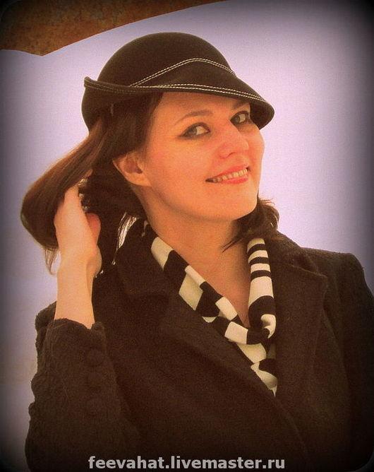 """Шляпы ручной работы. Ярмарка Мастеров - ручная работа. Купить Шляпка """"черная на обруче"""". Handmade. Черный, ретро, фетр"""