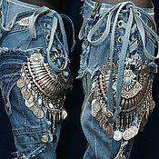 """Обувь ручной работы. Ярмарка Мастеров - ручная работа Сапоги джинсовые """"Вечерний звон"""" с украшением из мельхиора, 2см каблук. Handmade."""