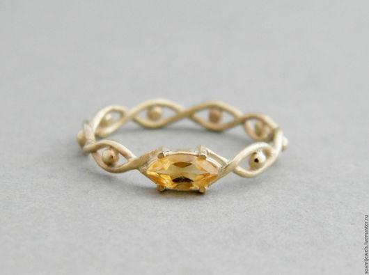 Кольца ручной работы. Ярмарка Мастеров - ручная работа. Купить Кольцо с цитрином, желтое золото 585 пробы. Handmade.