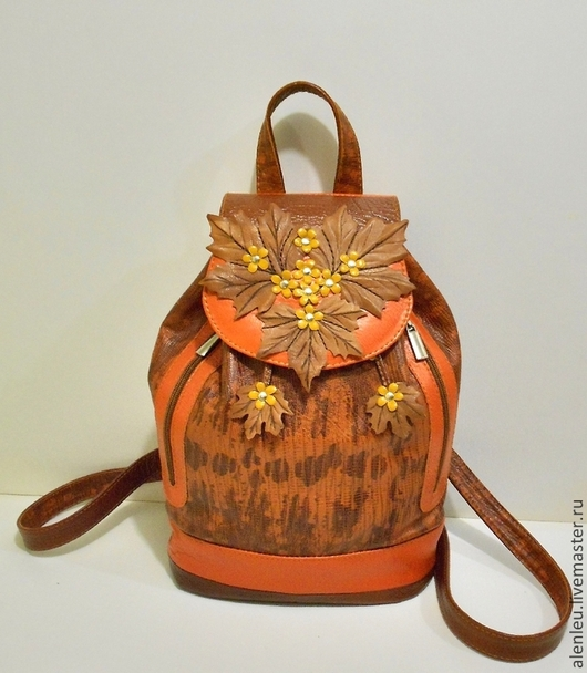 """Рюкзаки ручной работы. Ярмарка Мастеров - ручная работа. Купить """"Глубокая осень"""" кожаный рюкзак из натуральной кожи. Авторская работа.. Handmade."""