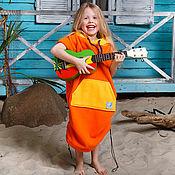 Одежда ручной работы. Ярмарка Мастеров - ручная работа Серф пончо детское оранжевое. Handmade.