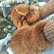 Аксессуары handmade. Livemaster - original item Red fox fur mittens. Handmade.