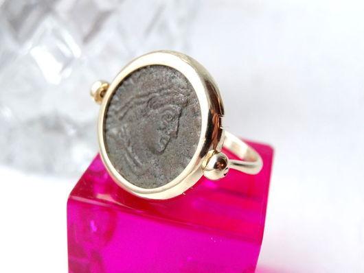 """Кольца ручной работы. Ярмарка Мастеров - ручная работа. Купить Золотое кольцо """"Монета"""". Handmade. Коричневый, уникальное украшение"""
