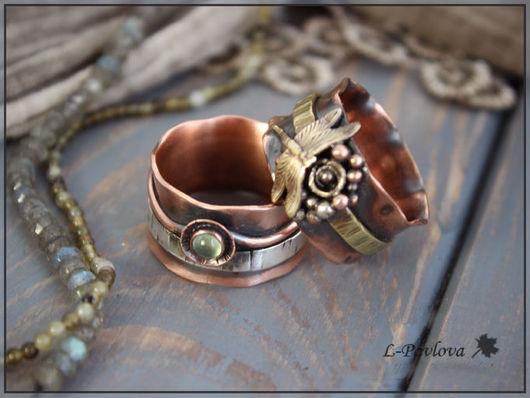 """Кольца ручной работы. Ярмарка Мастеров - ручная работа. Купить Пара медных колец """"Осень в серебре"""". Handmade. Кольцо"""