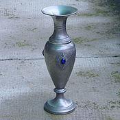 Винтаж ручной работы. Ярмарка Мастеров - ручная работа винтажная оловянная ваза с лазуритом. Handmade.