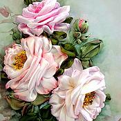 Картины и панно ручной работы. Ярмарка Мастеров - ручная работа Вышивка лентами. Розы. Handmade.