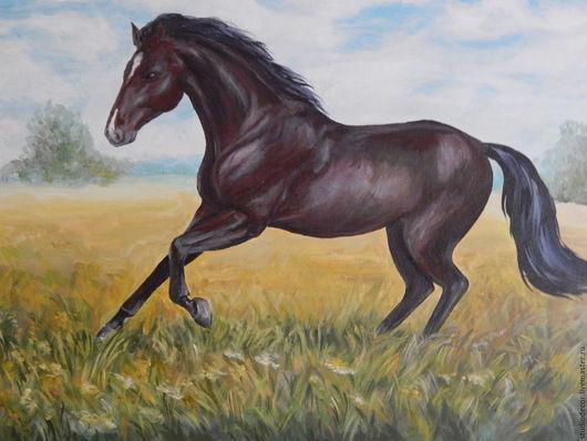 Животные ручной работы. Ярмарка Мастеров - ручная работа. Купить Картина акрилом Конь. Handmade. Комбинированный, картина на холсте, лошадь