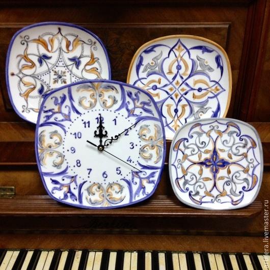 Тарелки ручной работы. Ярмарка Мастеров - ручная работа. Купить Роспись фарфора  Коллекция тарелок с часами Талавера. Handmade. Серый