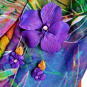 """Украшения ручной работы. Ярмарка Мастеров - ручная работа комплект брошь и зажимы в волосы """"Фиолетовая ванда"""".. Handmade."""