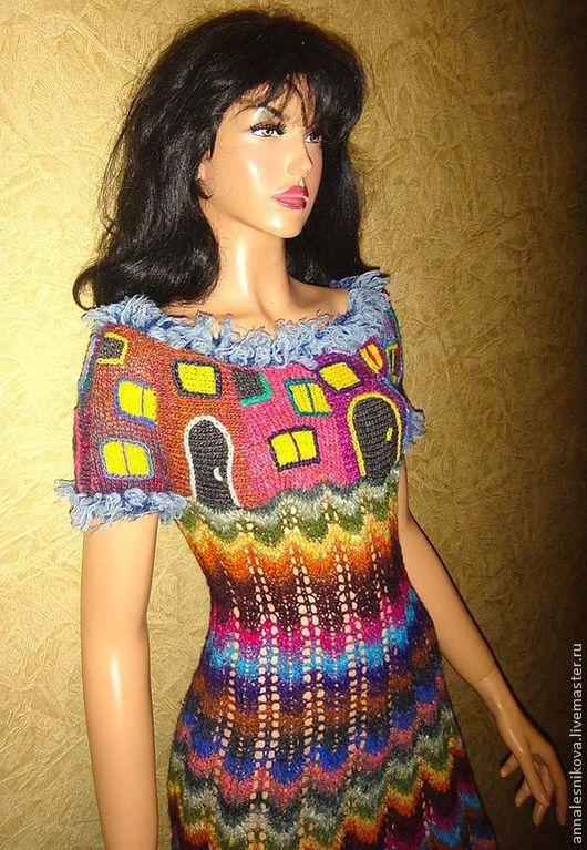 """Платья ручной работы. Ярмарка Мастеров - ручная работа. Купить Платье """"Джинса""""-2. Handmade. Рисунок, платье вязаное"""