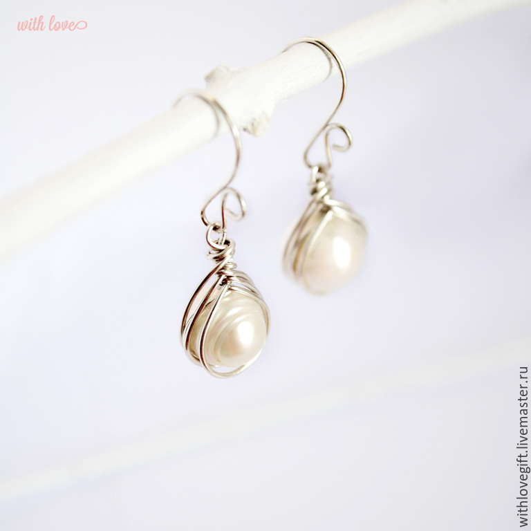 Unusual Silver Earrings With Pearls