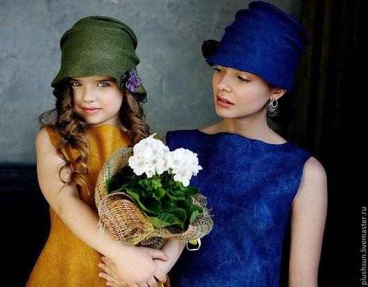 Шляпы ручной работы. Ярмарка Мастеров - ручная работа. Купить Валяная шляпка «Цветение фиалки». Handmade. Зеленый, холли, цветение