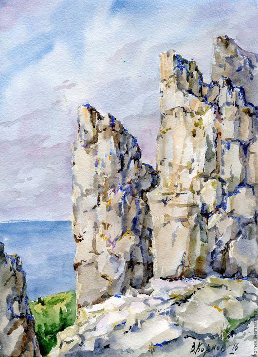 Пейзаж ручной работы. Ярмарка Мастеров - ручная работа. Купить Крым-1. Handmade. Комбинированный, море, скалы, акварель