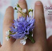Украшения handmade. Livemaster - original item Ring with cornflower polymer clay. Handmade.