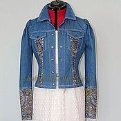 Одежда ручной работы. Ярмарка Мастеров - ручная работа Куртка джинсовая с отделкой из Павловопосадского платка. Handmade.