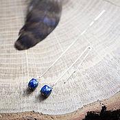 Украшения ручной работы. Ярмарка Мастеров - ручная работа Серебряные серьги-цепочки с лазуритом. Handmade.