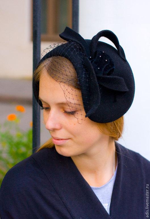 Шляпы ручной работы. Ярмарка Мастеров - ручная работа. Купить Менингитка «паучок». Handmade. Черный, шляпка с вуалью, купить шляпу