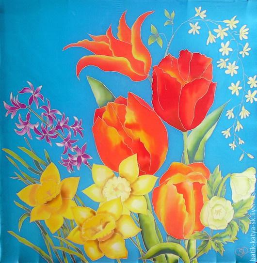 """Шали, палантины ручной работы. Ярмарка Мастеров - ручная работа. Купить Батик платок """"Букет цветов. Май"""", продан. Handmade."""