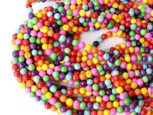 Для украшений ручной работы. Ярмарка Мастеров - ручная работа. Купить Бусины говлит натуральный камень разноцветный микс 6 мм 4 мм. Handmade.