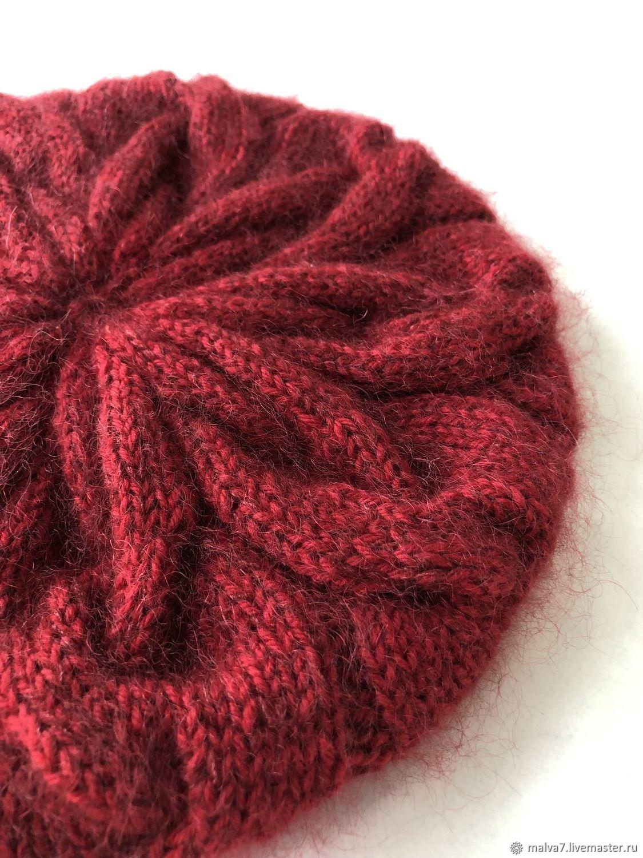Берет вязаный с кашемиром Красно-бордовый Шапка женская вязаная