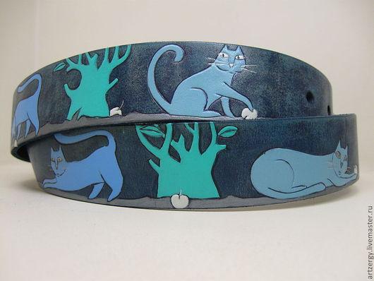"""Пояса, ремни ручной работы. Ярмарка Мастеров - ручная работа. Купить ремень кожаный """"Коты"""". Handmade. Рисунок, пояс"""