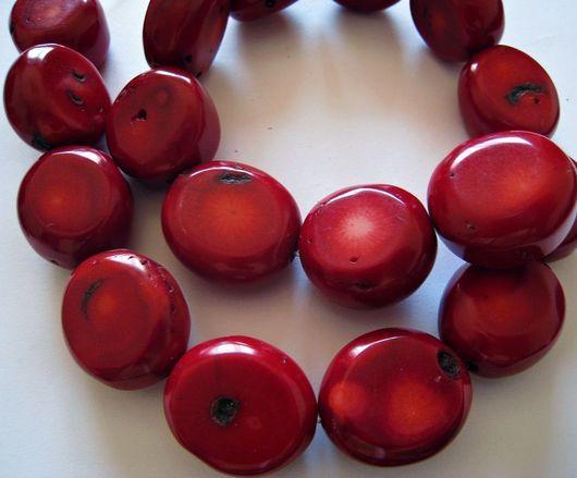 Для украшений ручной работы. Ярмарка Мастеров - ручная работа. Купить Крупные бусины темно-красных кораллов 24-26мм. Handmade.