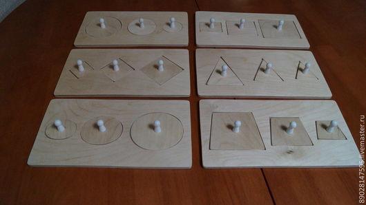 Развивающие игрушки ручной работы. Ярмарка Мастеров - ручная работа. Купить Рамки-Вкладыши с фигурами. Handmade. Бежевый, для детей, фанера