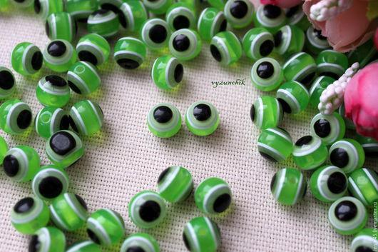 Куклы и игрушки ручной работы. Ярмарка Мастеров - ручная работа. Купить Бусины-глазки 10 мм. Handmade. Зеленый, бусины