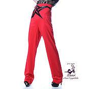 Одежда ручной работы. Ярмарка Мастеров - ручная работа Роскошные брюки с корсетом из костюмной шерсти с аппликацией из кожи. Handmade.