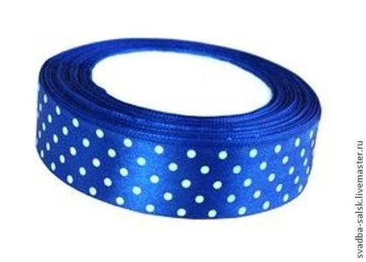 Шитье ручной работы. Ярмарка Мастеров - ручная работа. Купить Лента атласная синий в горох 25 мм. Handmade.