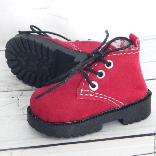 Куклы и игрушки ручной работы. Ярмарка Мастеров - ручная работа. Купить Ботиночки 7,2см. Обувь для кукол. Handmade. Бордовый
