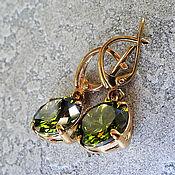 Earrings handmade. Livemaster - original item Olivia earrings-silver with gold, zircons. Handmade.