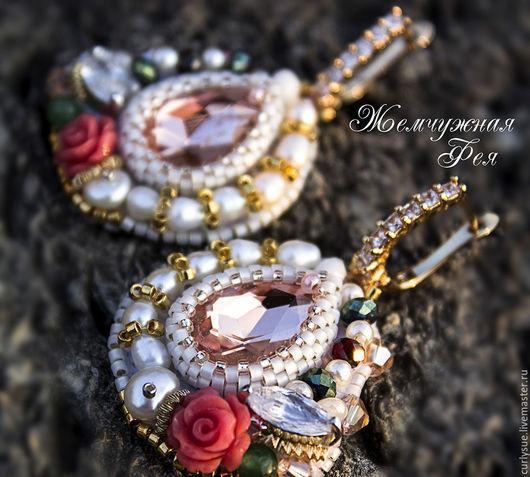"""Серьги ручной работы. Ярмарка Мастеров - ручная работа. Купить Позолоченные серьги по мотивам Dolce & Gabbana  """" Peach Rose """". Handmade."""