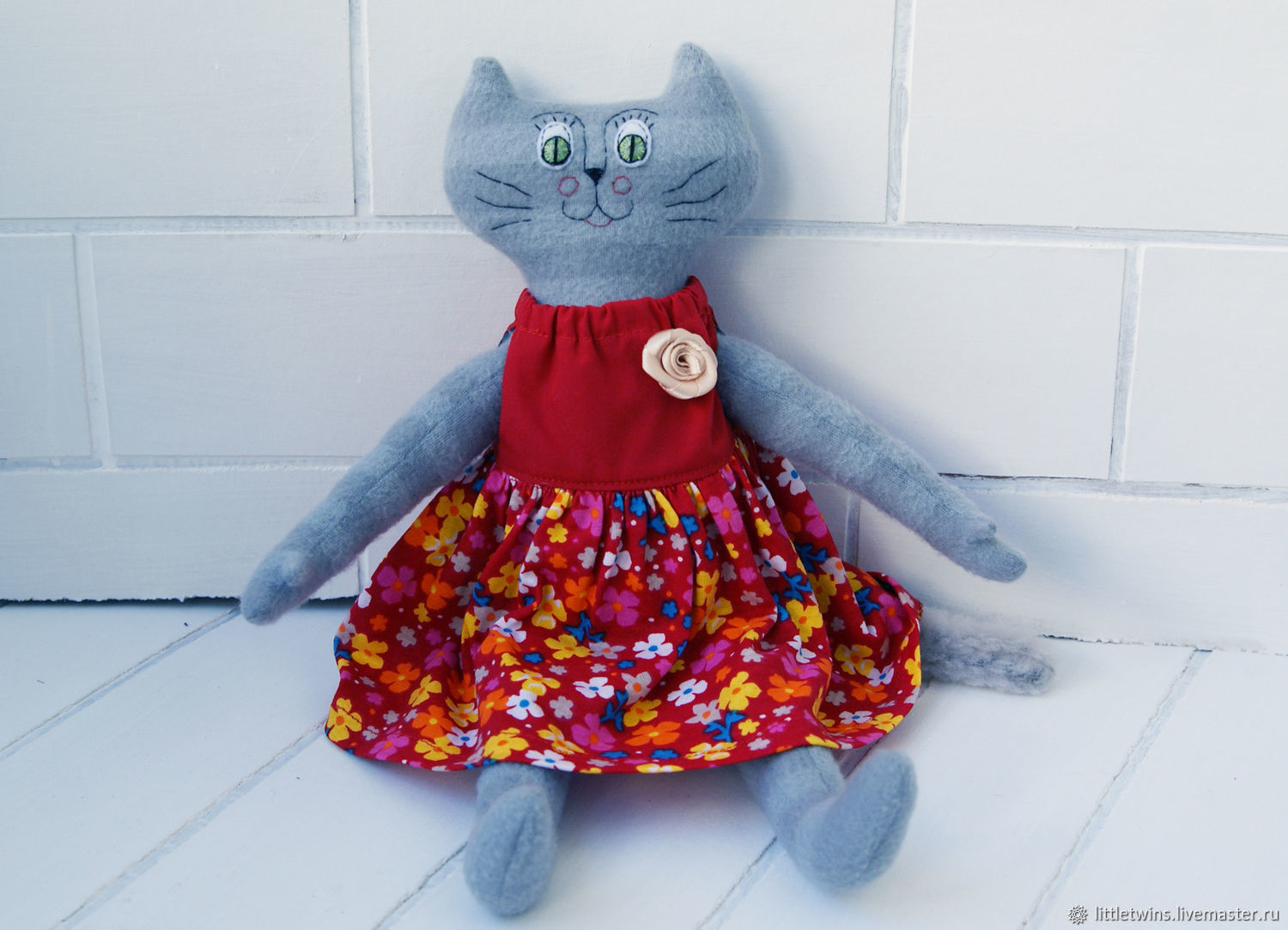 c5ef01e01de28 Clothes for Girls handmade. Baby dress cat toy. Little Twins by Yana  Vertoprakhova.