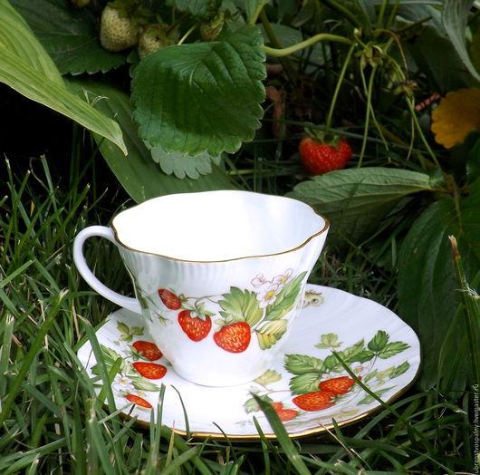 Винтажная посуда. Ярмарка Мастеров - ручная работа. Купить Клубничное счастье.Чайная пара Virginia Strawberry .Английский винтаж.. Handmade.