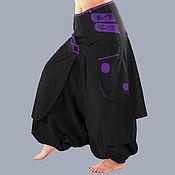 Одежда handmade. Livemaster - original item Black Trousers with a purple pocket