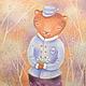 Мишка и подснежники Картина для детской