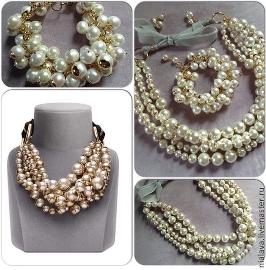 Модный роскошный комплект украшений из жемчуга купить колье ожерелье браслет ручной работы дизайнера Светланы Молодых в интернет магазине подарок женщине на шею заказать 2015 года мода
