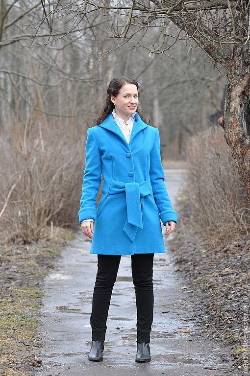 Верхняя одежда ручной работы. Ярмарка Мастеров - ручная работа. Купить Кашемировое пальто. Handmade. Синий, пальто женское