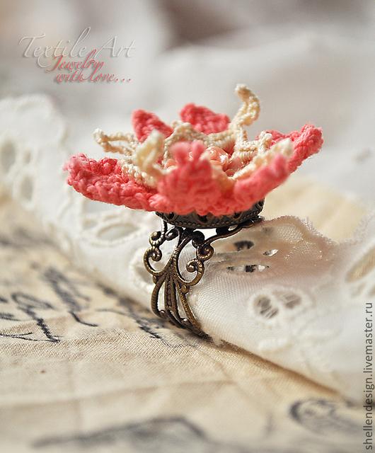 """Кольца ручной работы. Ярмарка Мастеров - ручная работа. Купить Кольцо """"Розочка"""". Handmade. Коралловый, антик, весна"""