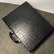 Сумки и аксессуары handmade. Livemaster - original item Men`s suitcase, genuine crocodile leather, black color.. Handmade.