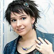 Украшения handmade. Livemaster - original item Necklace. Lapis Lazuli, Charoite, Mother Of Pearl. Mosaic from natural stones. Handmade.